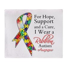 For Hope Autism Ribbon Throw Blanket
