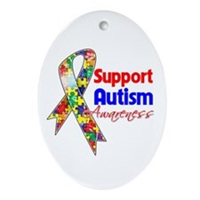 Support Autism Awareness Ornament (Oval)