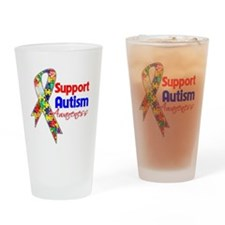 Support Autism Awareness Drinking Glass
