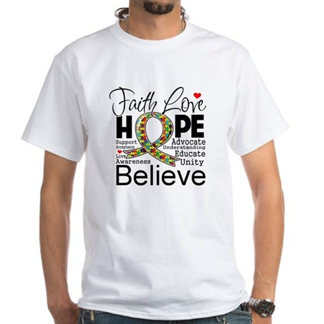 Faith Love Hope Autism White T-Shirt