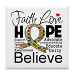 Faith Love Hope Autism Tile Coaster