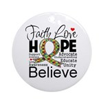 Faith Love Hope Autism Ornament (Round)