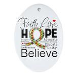 Faith Love Hope Autism Ornament (Oval)
