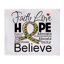 Faith Love Hope Autism Throw Blanket