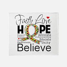 Faith Love Hope Autism Throw Blanket
