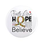 "Faith Love Hope Autism 3.5"" Button (100 pack)"