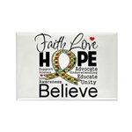 Faith Love Hope Autism Rectangle Magnet (100 pack)