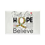 Faith Love Hope Autism Rectangle Magnet