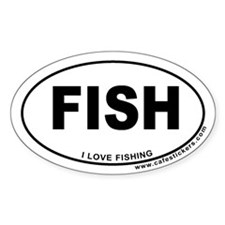 I Love Fishing Oval Decal