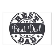 Best Dad rubber stamp Postcards (Package of 8)