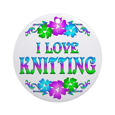 Knitting Love Ornament (Round)