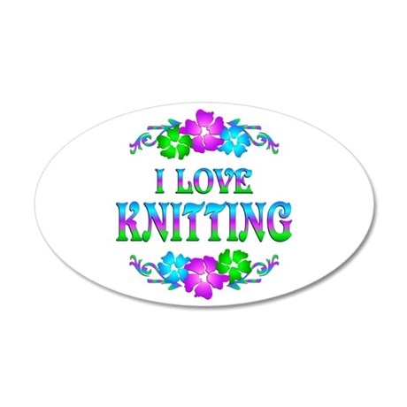 Knitting Love 38.5 x 24.5 Oval Wall Peel