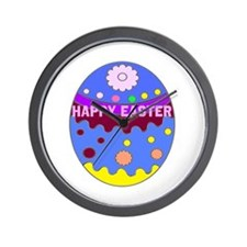 Happy Easter Duck on An Easter Egg Wall Clock