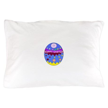 Happy Easter Duck on An Easter Egg Pillow Case