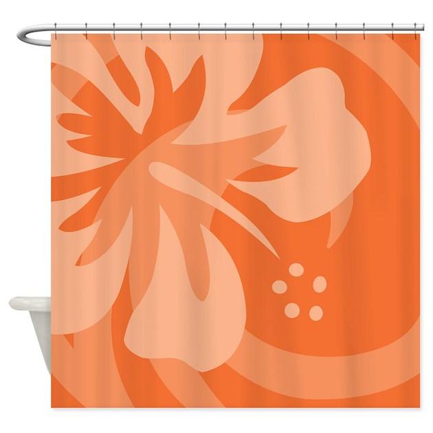 Hibiscus Orange Shower Curtain By Srfboystore