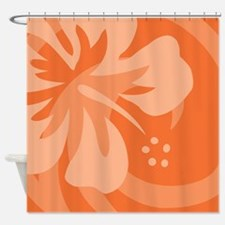 Hibiscus Orange Shower Curtain