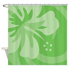Hibiscus Green Shower Curtain