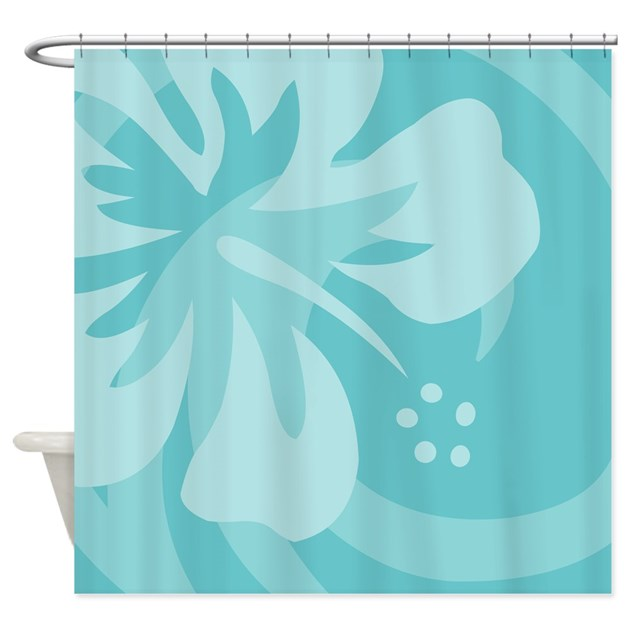 Hibiscus Aqua Shower Curtain By Srfboystore