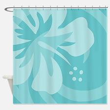 Hibiscus Aqua Shower Curtain