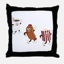 Soda Hotdog Popcorn Throw Pillow