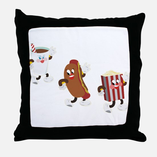 Soda Hotdog Popcorn Throw Pillow