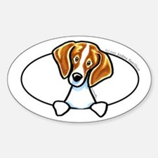 Red White Beagle Peeking Bumper Decal