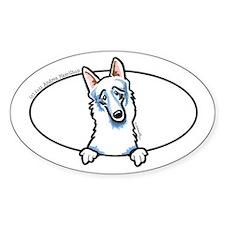 White German Shepherd Dog Peeking Bumper Decal