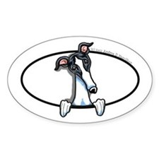 White Black Greyhound Peeking Bumper Decal