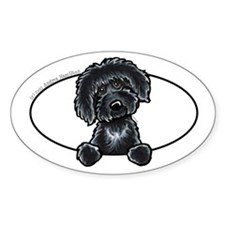 Black Labradoodle Peeking Bumper Decal