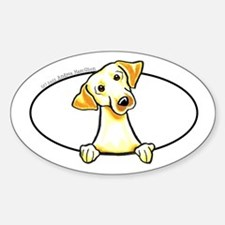 Yellow Lab Peeking Bumper Sticker (Oval)