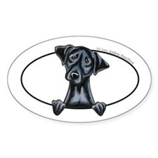 Black Lab Peeking Bumper Decal