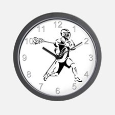Lacrosse Player Action Wall Clock