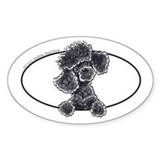 Black Poodle Peeking Bumper Decal