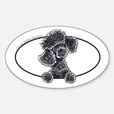 Black Poodle Peeking Bumper Decal