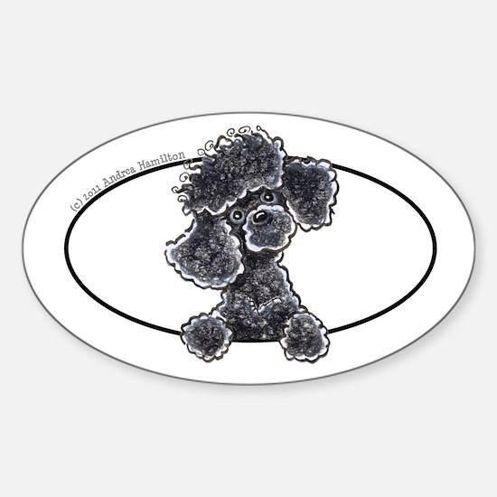 Black Poodle Peeking Bumper Sticker (Oval)