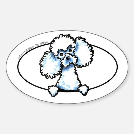 White Poodle Peeking Bumper Sticker (Oval)