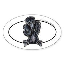 Black Standard Poodle Peeking Bumper Decal