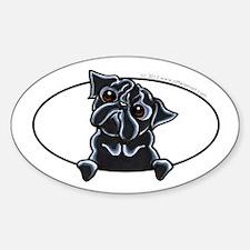 Black Pug Peeking Bumper Decal
