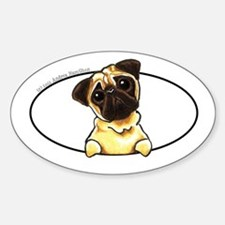 Fawn Pug Peeking Bumper Decal