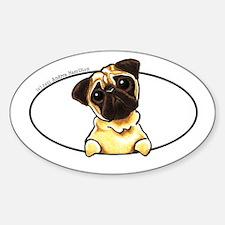 Fawn Pug Peeking Bumper Sticker (Oval)