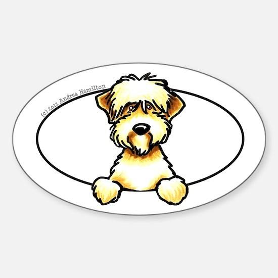 Soft Coated Wheaten Terrier Peeking Bumper Decal