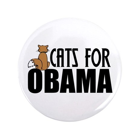 """Cats for Obama 3.5"""" Button"""