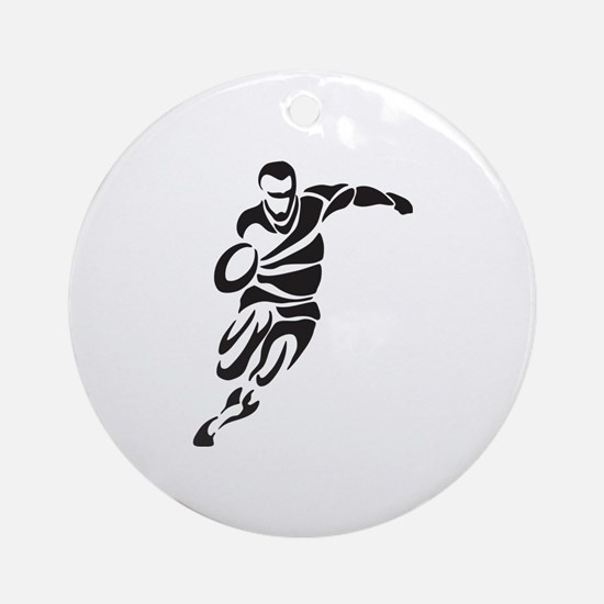 Rugby Player Ornament (Round)