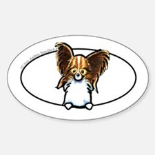 Papillon Peeking Bumper Sticker (Oval)