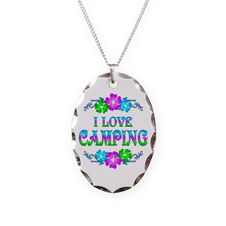 Camping Love Necklace Oval Charm