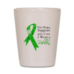 Hope Cure Green Ribbon Shot Glass