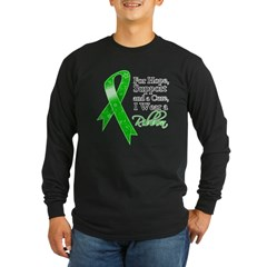 Hope Cure Green Ribbon Long Sleeve Dark T-Shirt