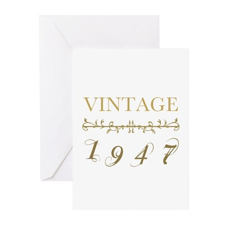 1947 Vintage Gold Greeting Cards (Pk of 10)