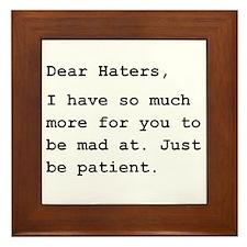 Dear Haters Framed Tile
