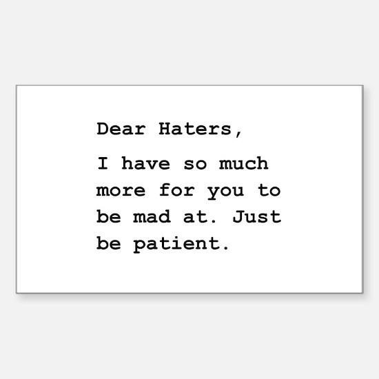 Dear Haters Sticker (Rectangle 10 pk)